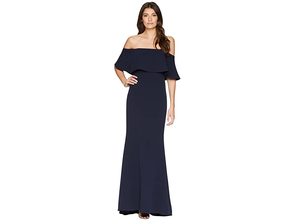Badgley Mischka Popover Butter Crepe Gown (Navy) Women