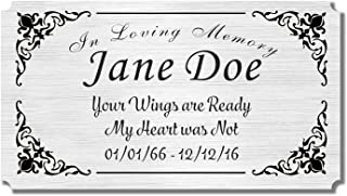 "2.5"" H x 4.5"" W, Elegant Engraved Brass Plaque, Memorial Name Plate for Urn, Pets or Loved Ones, Black Gold Silver Copper Colors, Customize Message and Emblems, Made in USA (Nickel-Silver)"