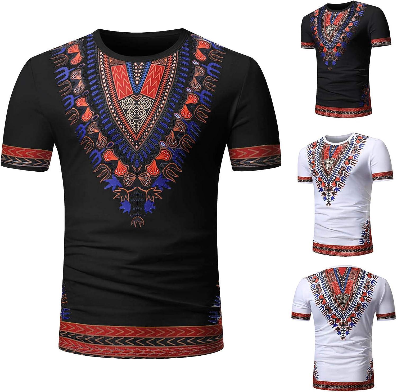 YWLINK Hombre Estilo Nacional Moda Impresa Africana Camiseta Manga Corta Camisa Informal Top Blusa Deportes Al Aire Libre Fiesta Actividad Rendimiento