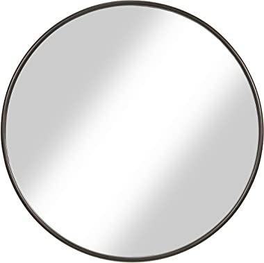"Martin Svensson Home 36"" Oil Rubbed Bronze Framed Round Wall Mirror, Diameter"