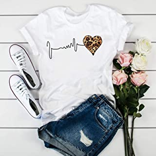 Leopard Heartbeat Printing Harajuku T-shirt O-neck Short-sleeved T-shirt Fashion Women's T-shirt