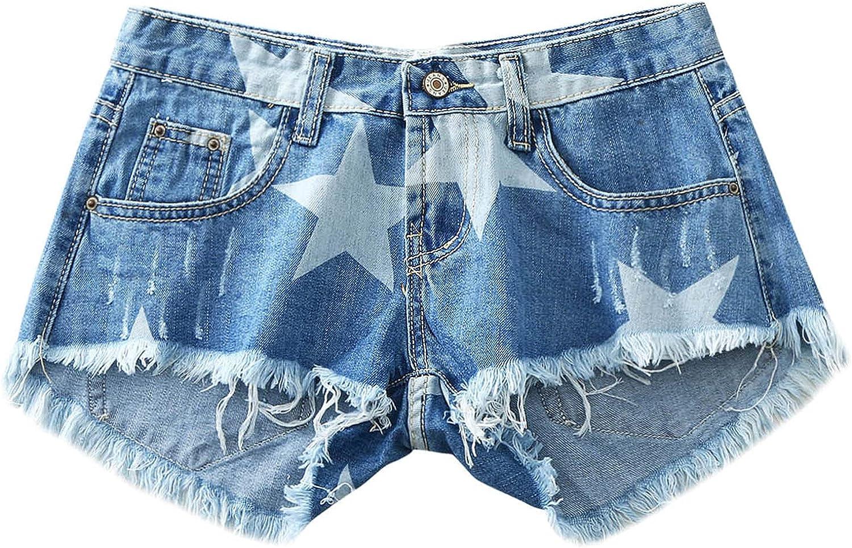 ManxiVoo Women Frayed Raw Hem Denim Shorts Star Pattern Jeans Shorts with Pockets Mini Shorts