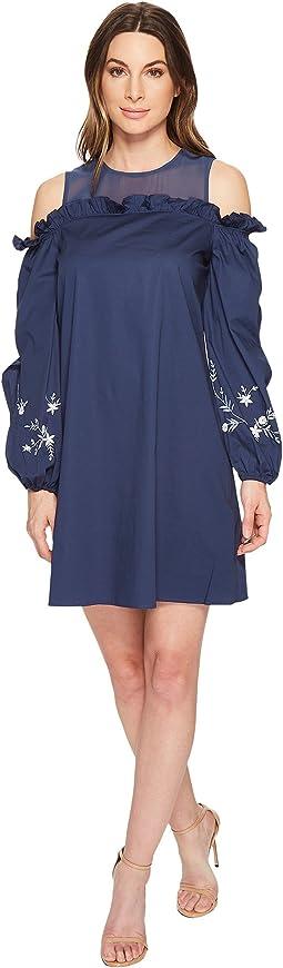 CeCe - Balloon Sleeve Ruffled Cotton Shirting Dress