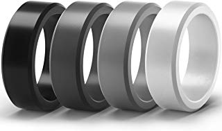 ThunderFit Silicone Rings for Men 4 Rings / 1 Ring - Flat Top Angled Edge Rubber Wedding Bands 8.9mm Wide