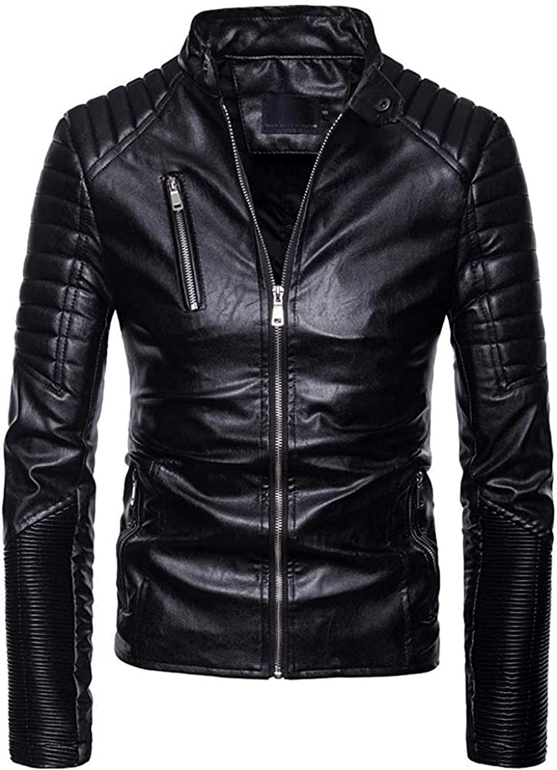 Men's Classic Faux Leather Moto Jacket Slim Zip OFFicial Colorado Springs Mall mail order Fit Stand Collar