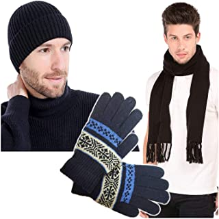 GRAPPLE DEALS Winter Wear Warm Stylish Look Men Knitted Warmer Hand Gloves, Lightweight Warm Muffler And Cap (Any - Color) 3 Pcs