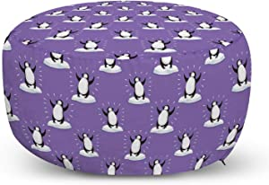 Lunarable Cartoon Ottoman Pouf, Funny Penguins Dancing on Iceberg Arctic Animals Cheerful Winter, Decorative Soft Foot Rest with Removable Cover Living Room and Bedroom, Violet Dark Grey and White