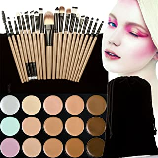 Pure Vie Pro 20 Pcs Make Up Brushes + 15 Colors Cream Concealer Camouflage Makeup Palette Contouring Kit for Salon and Daily Use