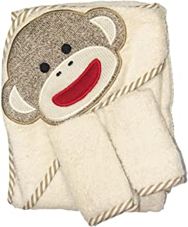 Sock Monkey Hooded Towel and 2 Washcloth Set by Baby Starters