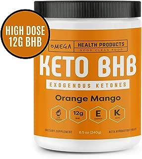 Omega Keto BHB Exogenous Ketones - Orange Mango - High Dose Base goBHB Salt Powder | Ketones for Ketogenic Diet | Electrolytes | Perfect for Supporting Energy, Mental Focus, Ketosis (16 Servings)