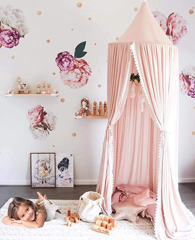 Amazon.com: YUAKOU Princess Bed Canopy for Kids Baby Bed, Chiffon Dome Mosquito Net Hanging Decoration Christmas New Year Presents: Home & Kitchen