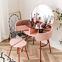 Dressing Table Set, Modern Pink Dressing Table Wood, with Stool. Semi-Oval Mirror with 2 Drawers and Adjustable Drawers fo...