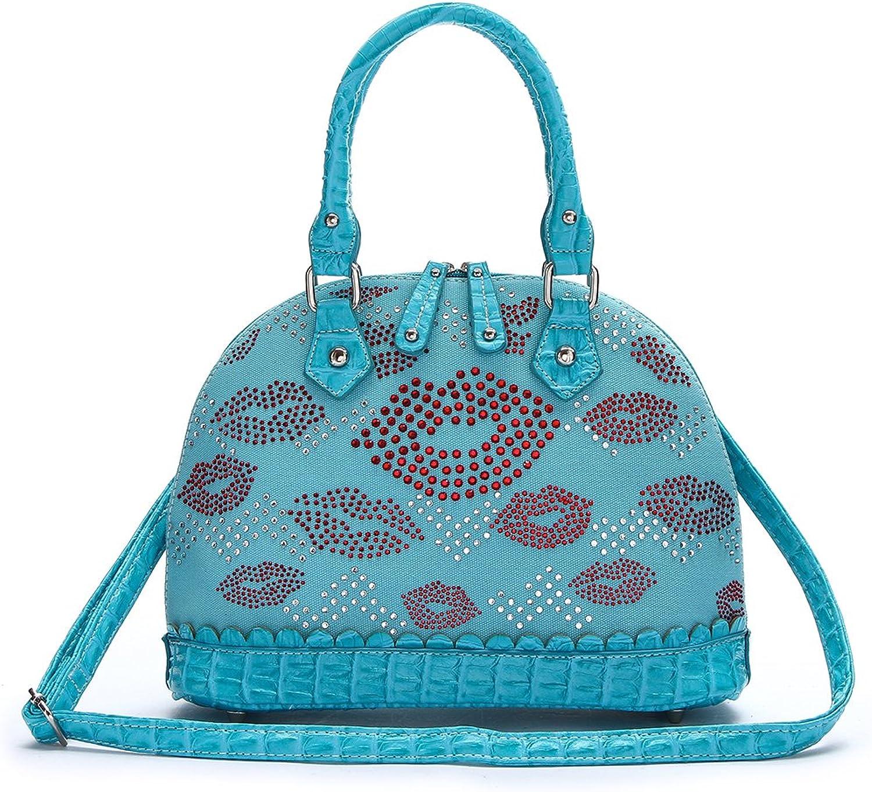 Western Fashion Handbag  Red Lips All Over Top Handle Dome Bag