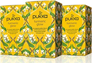 Pukka Turmeric Glow, Organic Herbal Tea With Lemon & Whole Leaf Green Tea (3 Pack, 60 Tea Bags)