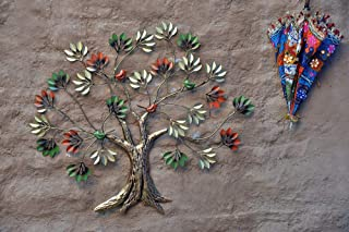 Vedas Exports Multicolour Wrought Iron Dani Bird Tree Wall Decorative Hanging & Mounted Art Sculpture Living Room Décor (S...