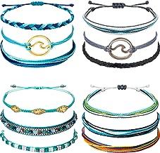 Chuangdi 12 Pieces Wave Strand Bracelet Set Handmade Adjustable Friendship Bracelet Handcrafted Jewelry Women