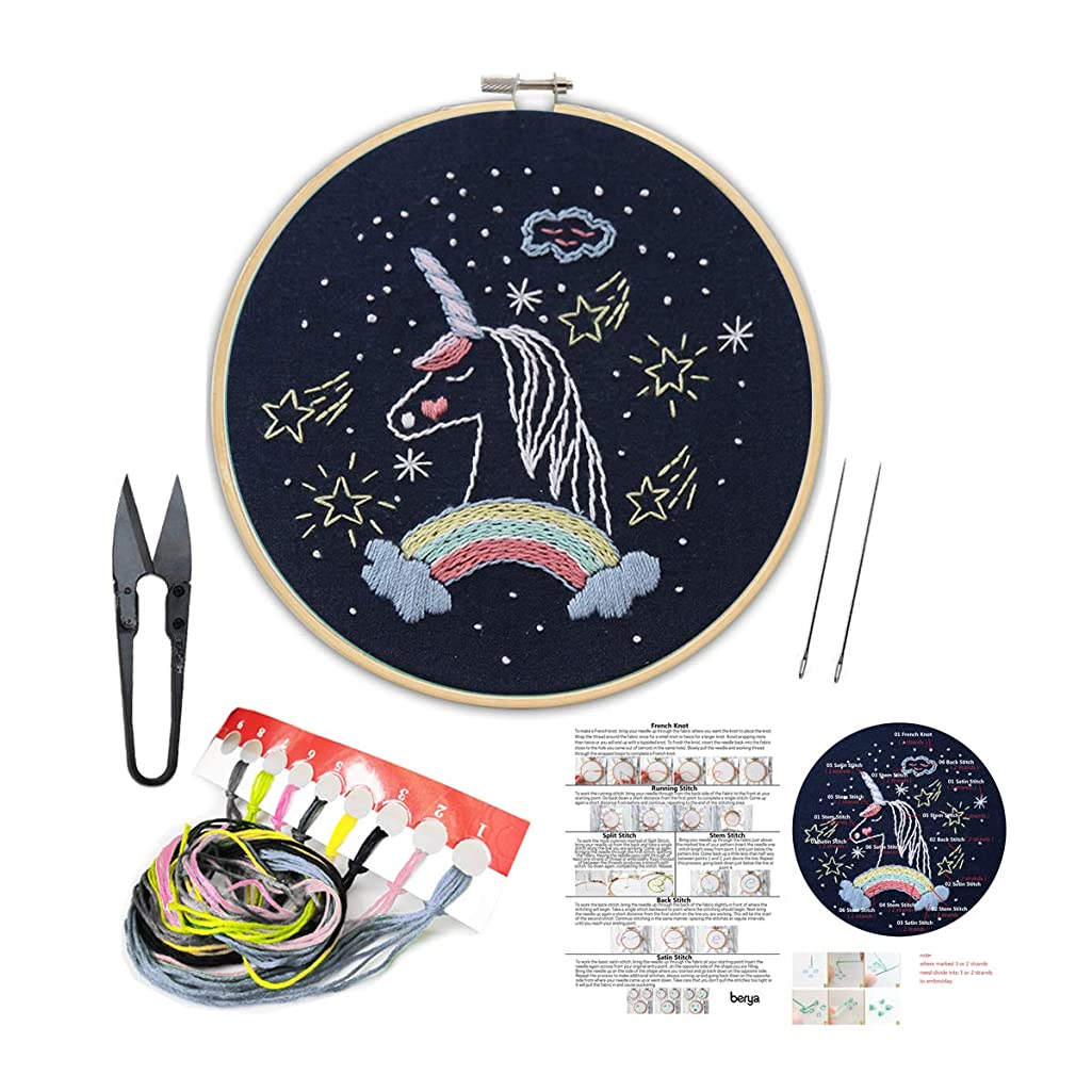 Handmade Embroidery Kit Set with Instruction for Beginners -Goodnight Series Needlepoint Kits for Home Decor
