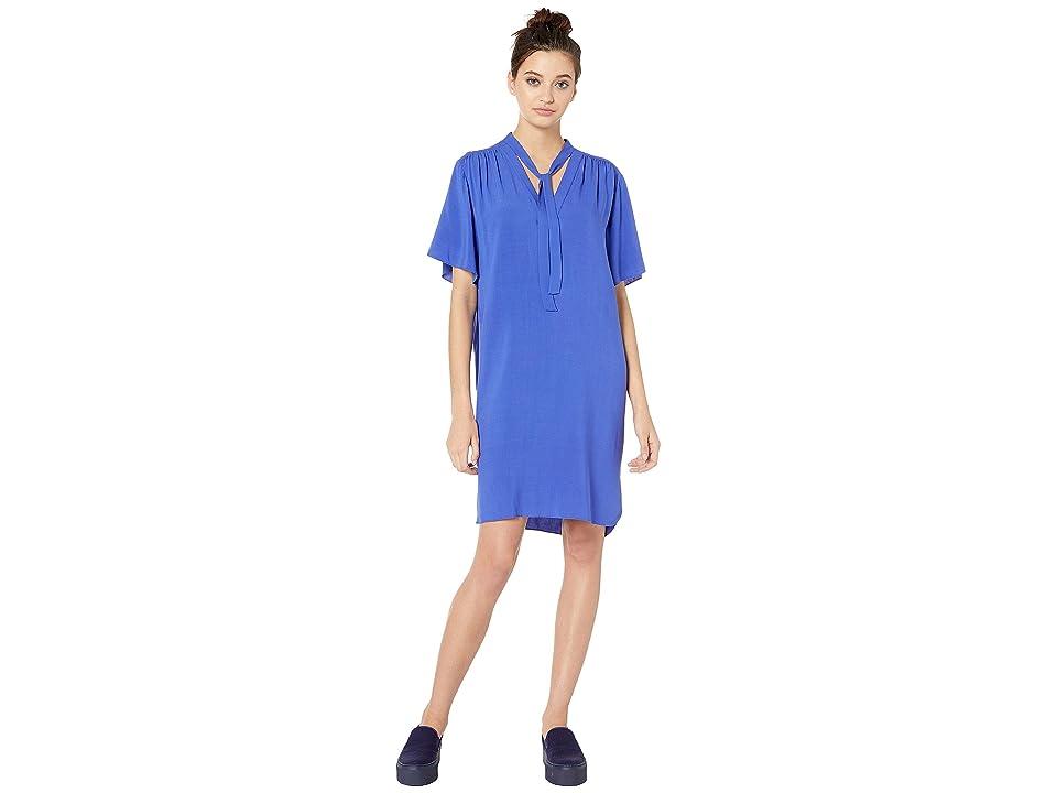 NeverEven Tie Front Ruched Dress (Lapis) Women
