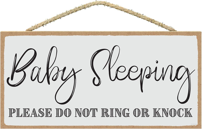 SARAH JOY'S Baby Sleeping Sign - Baby Sleeping Sign Front Door 5 x 10 inches - Do Not Ring Doorbell Sign Baby Sleeping - Shhh Sleeping Baby (Light Gray Background)