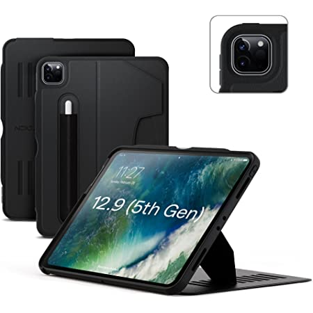 ZUGU Case for 2021 iPad Pro 12.9 inch Gen 5 - Slim Protective Case - Wireless Apple Pencil Charging - Magnetic Stand & Sleep/ Wake Cover (Fits Model #'s A2378, A2379, A2461, A2462) - Stealth Black