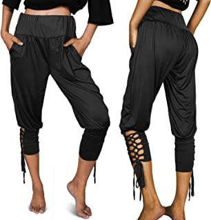Syhood High Waist Yoga Pants Casual Out Pocket 4 Way Stretch Capris Pilates Pants Joggers