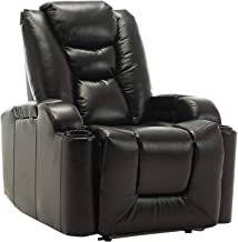 ZOY Leather Meredith Power Recliner, RD6487C-51, Black, H76 x W87 x D90 cm