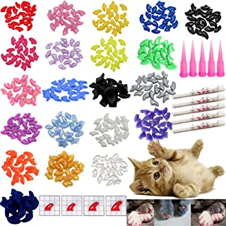 VICTHY 100 PCS Soft Pet Cat Nail Caps Cats Paws Grooming Nail Claws Caps Covers of 5 Random 5Pcs Adhesive Glue with 5pcs A...