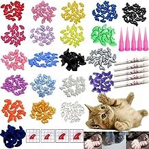 VICTHY 100 PCS Soft Pet Cat Nail Caps Cats Paws Grooming Nail Claws Caps Covers of 5 Random 5Pcs Adhesive Glue with 5pcs Applicators