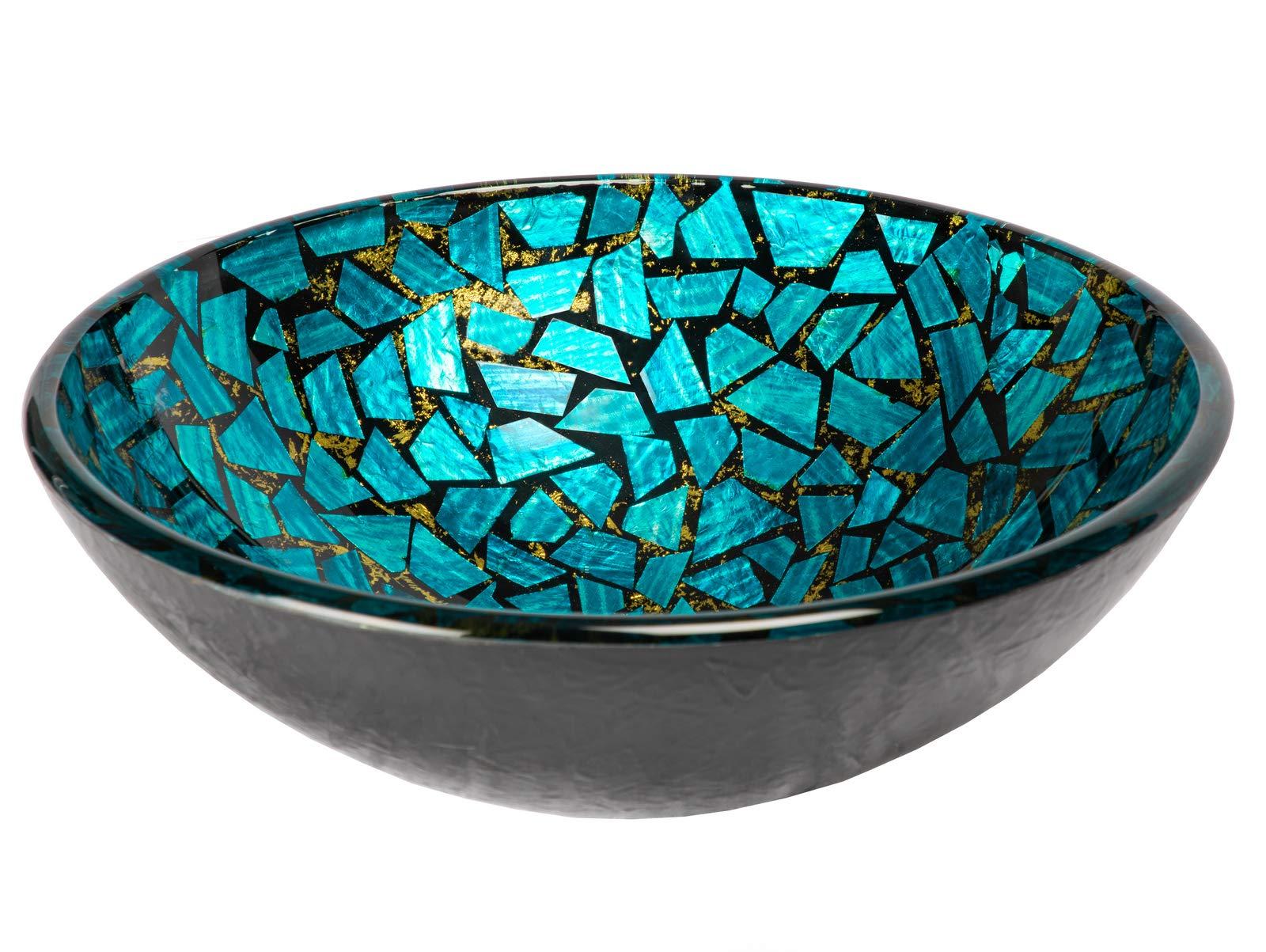 Eden Bath Blue And Gold Mosaic Round Glass Bathroom Vessel Sink Amazon Com