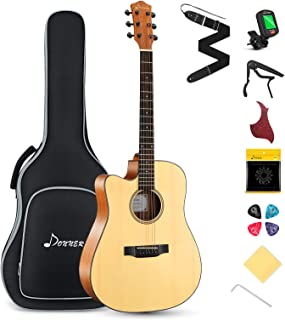 Best Donner Left Handed Acoustic Guitar Cutaway DAG-1CL 41 inch Full-size Beginner Guitar Package with Big Bag Tuner String Strap Capo Review