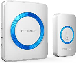 TeckNet Wireless Doorbell, Wall Plug-in Cordless Door Chime Kit With 300m Range, 52 Chimes, 4-Level Volume & Blue Light, No Batteries Required Best for Plug in Door Entry Bell