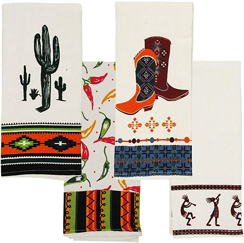 Sedona Southwest Kitchen Towels Cactus Cowboy Boots Peppers 16 X 28