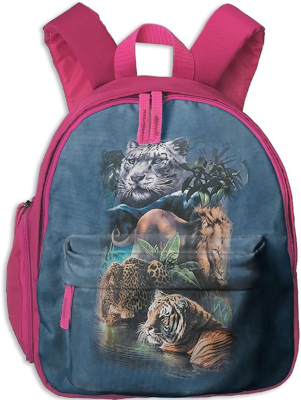 Lightweight Travel School Backpack Big Jungle Cats For Girls Teens Kids