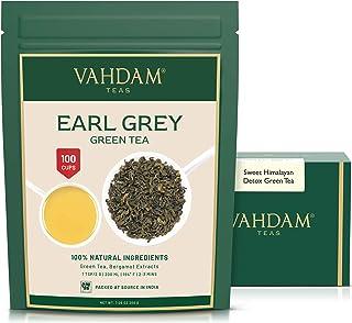 Earl Grey Grüne Tee Blätter aus dem Himalaya 100 Tassen, Aromatisch & Köstlich, Premium Grüner Tee aus Darjeeling, gemischt mit natürlichem Bergamotte Extrakt, direkt aus Green Tea, 100g Set of 2