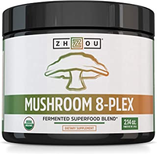 Zhou Nutrition Mushroom 8-Plex Organic Mushroom Powder for & Brain Power - Boost Immune Support, Energy, Endurance & Overa...