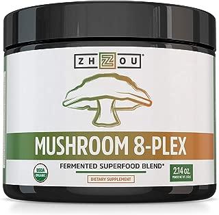 Mushroom 8-Plex Organic Mushroom Powder for & Brain Power - Boost Immune Support, Energy, Endurance & Overall Wellness with Lion's Mane, Reishi Mushroom & Turkey Tail