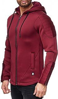 Red Bridge Men's Transition Jacket Neoprene Look Zip Sweat Jacket Basic Oversize Jacket