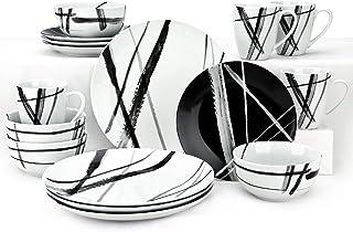 مجموعة أدوات المائدة المستديرة من 16 قطعة من زيان، مجموعة أطباق مترو الحجري باللونين الأسود والأبيض، مجموعة أطباق وأطباق آ...