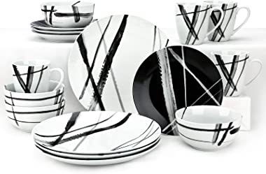 ZYAN 16 Piece Round Dinnerware Sets, Black and White Metro Stoneware Dish Set, Dishwasher Safe Plates and Bowls Sets for 4