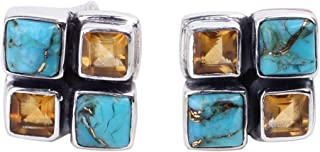 NOVICA Multi-Gem Citrine .925 Sterling Silver Button Earrings 'Harmonious Sky'