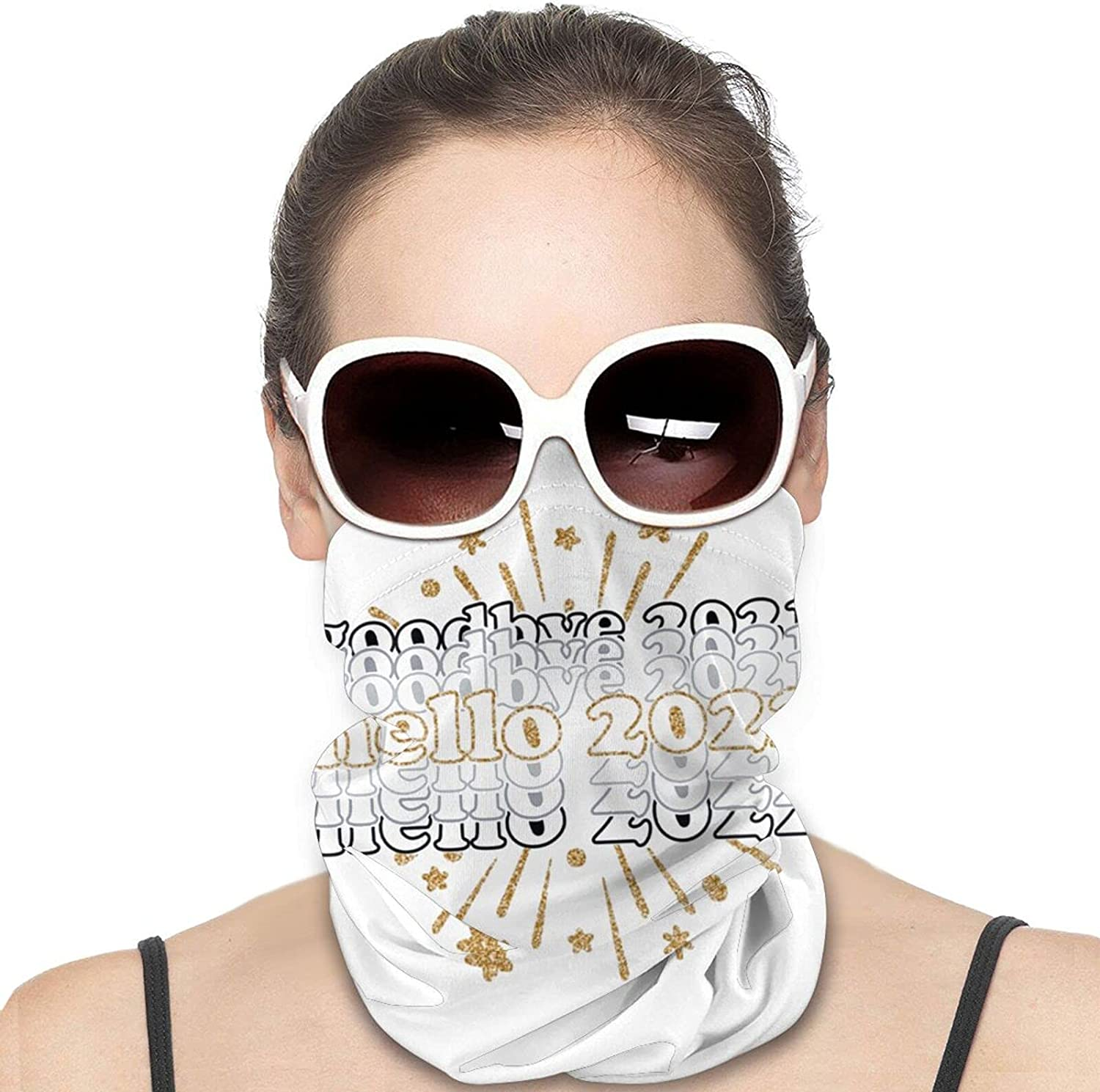Happy New Year Round Neck Gaiter Bandnas Face Cover Uv Protection Prevent bask in Ice Scarf Headbands Perfect for Motorcycle Cycling Running Festival Raves Outdoors