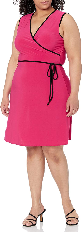 Star Vixen Women's Plus-Size Sleeveless Fauxwrap Dress with Piping