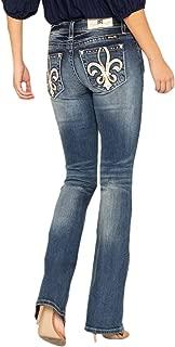Miss Me Women's Cowhide Fleur De Lis Bootcut Jeans in Dark Blue