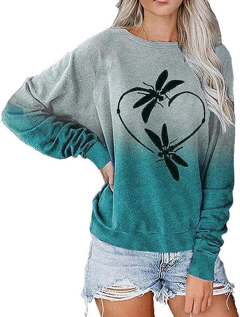 Long Sleeve Tops for Women,Women Aesthetic Tie Dye Sweatshirt Crewneck Loose Soft Long Sleeve Oversized Pullover Tops