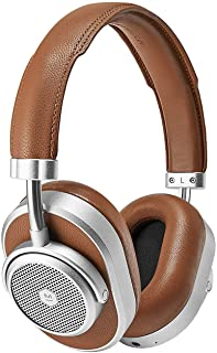 Master & Dynamic MW65 Active Noise-Cancelling (Anc) Wireless Headphones – Bluetooth Over-Ear Headphones with Mic - Silver Metal/Brown Leather
