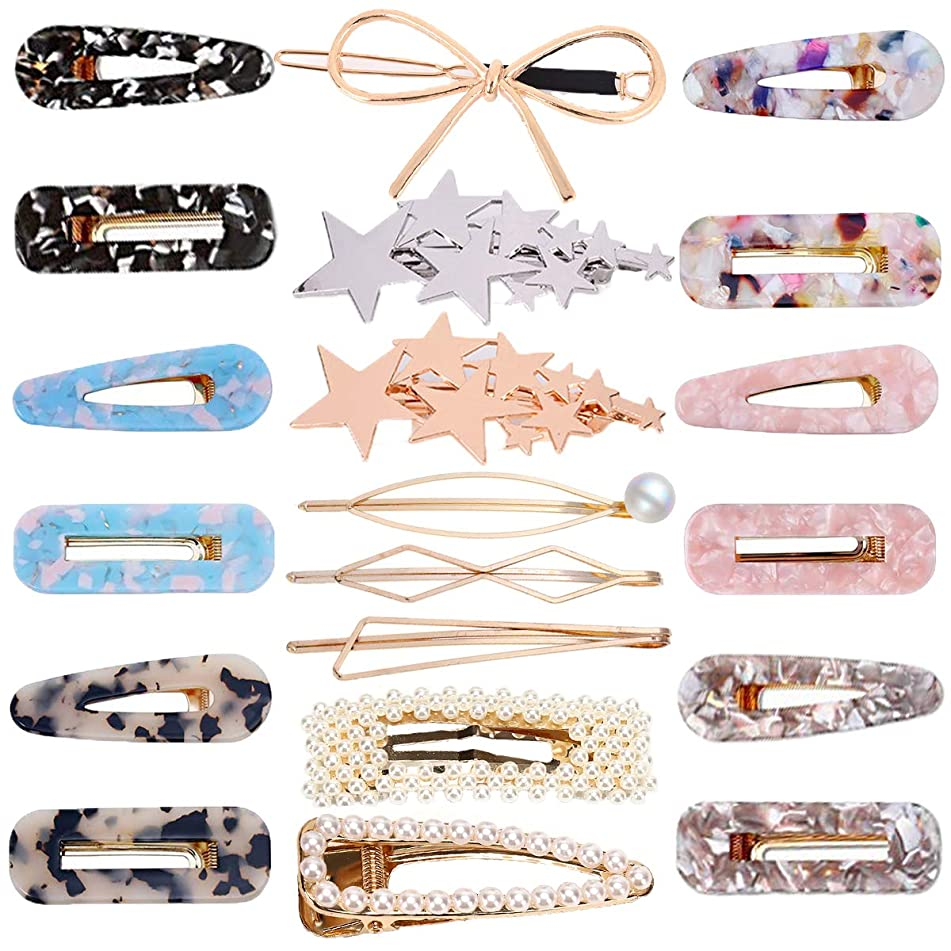 PIAOPIAONIU 20 Pcs Acrylic Resin Hair Clips Geometric Alligator Hair Clips Artificial Pearl Hair Barrettes for Women and Ladies Hair Accessories