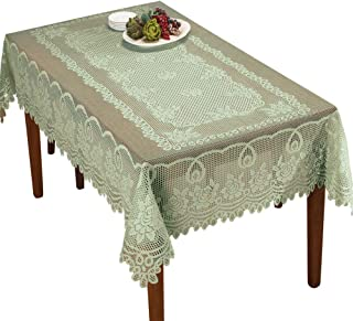 Collections Etc Crochet Lace Floral Tablecloth for Dining Room Accent or Layering Linens, Sage Green, 60
