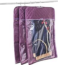 ATORAKUSHON Satin Transparent Hanging Saree Cover Front Side Dress Protection Bags Combo Set of 3 Pcs (Purple)