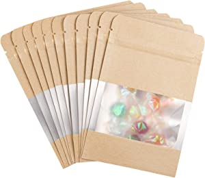 Whaline Inner Mylar Ziplock Bags 100 Pack Brown Kraft Bags with Clear Window Airtight Proof Food Storage Bags Waterproof Packaging Pouch Bag for Food Candy Tea Sample Salt, 4 x 6 Inch