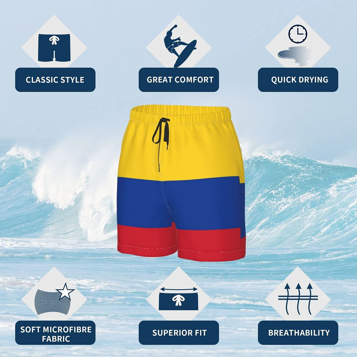 Colombia Flag Men's 3D Printed Funny Summer Quick Dry Swim Short Board Shorts with